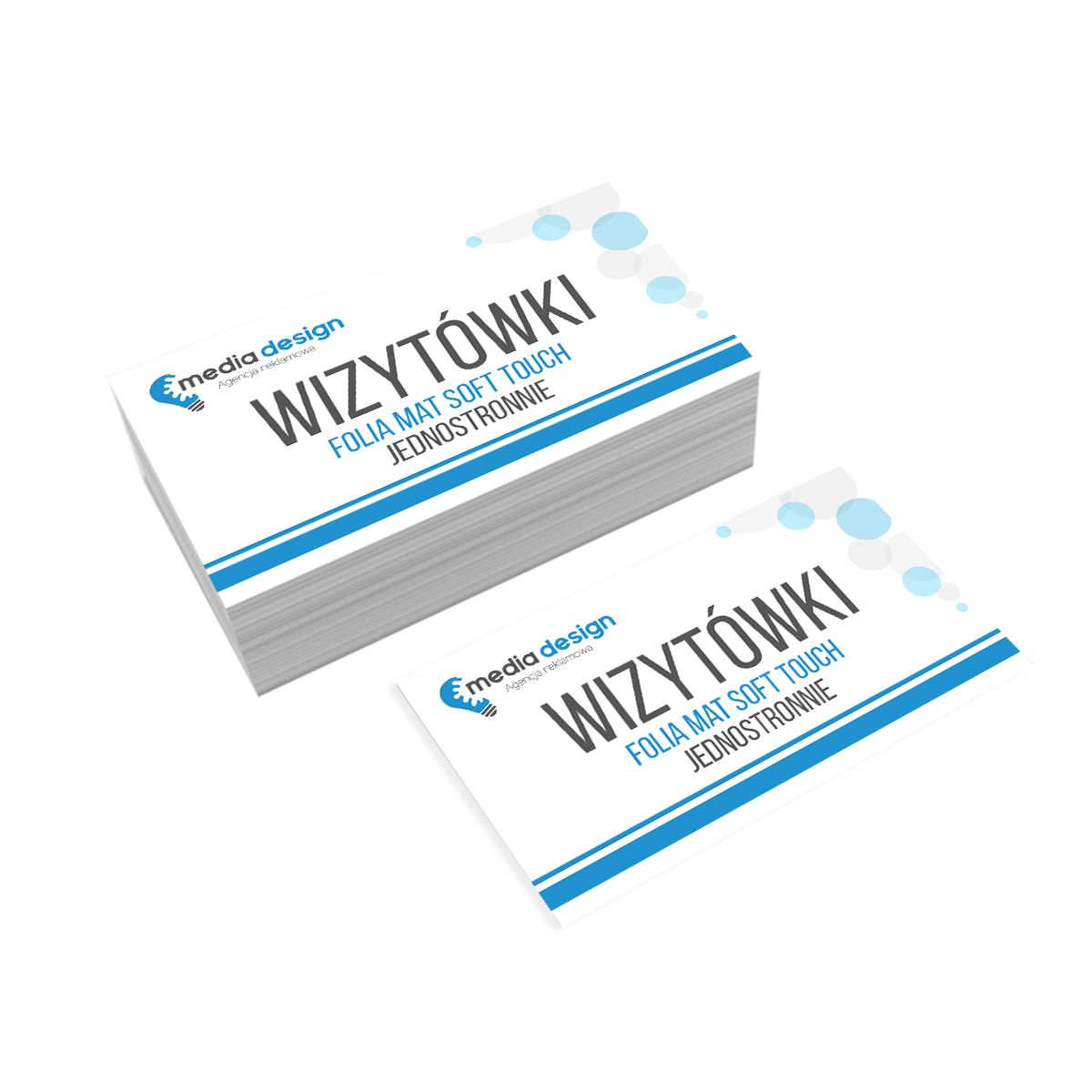 Wizytówki Extra 350g folia mat soft touch jednostronnie