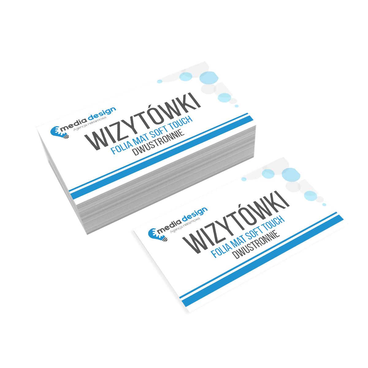 Wizytówki Extra 350g folia mat soft touch dwustronnie