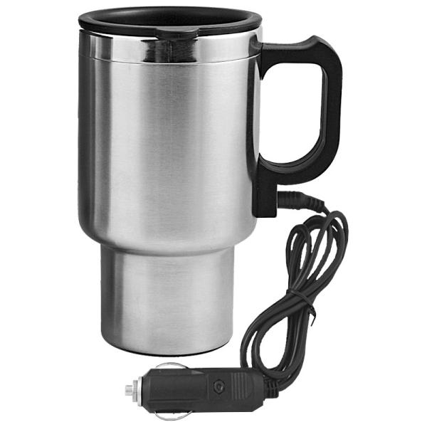 Kubek izotermiczny Auto Steel Mug 400 ml z podgrzewaczem, srebrny/czarny