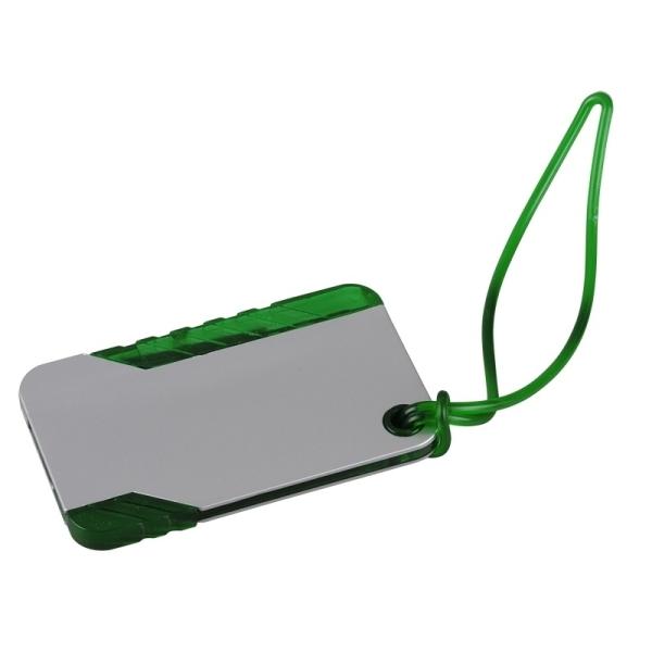 Przywieszka do bagażu, zielony/srebrny