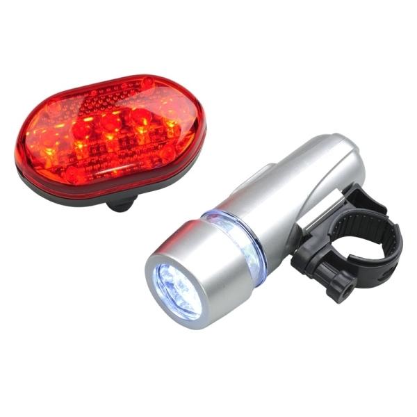 Zestaw lampek rowerowych Biker Light, srebrny