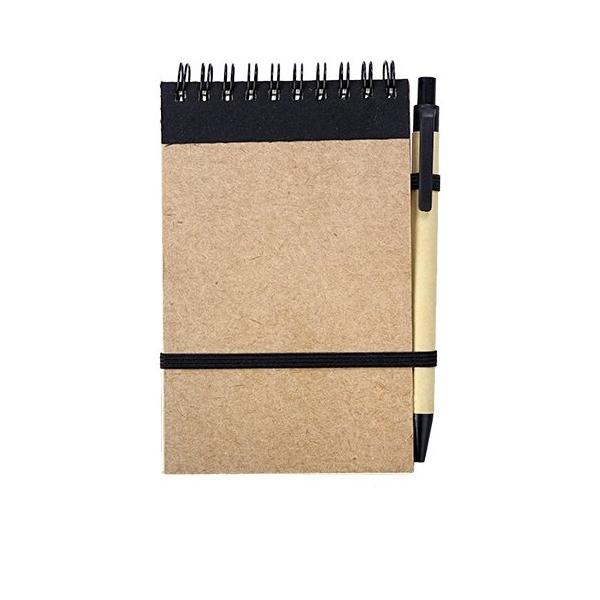 Notes eco 90x140/70k gładki z długopisem, czarny/beżowy