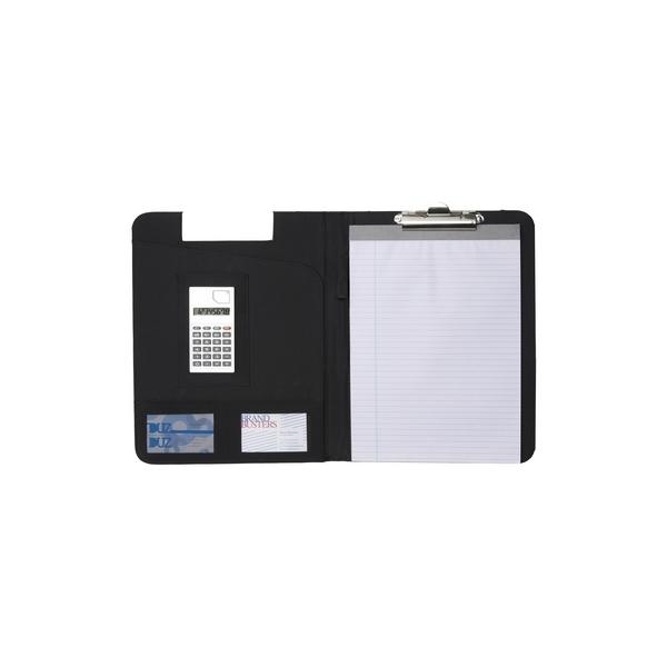Podkładka do pisania, teczka konferencyjna, notatnik A4 (kartki w linie), kalkulator