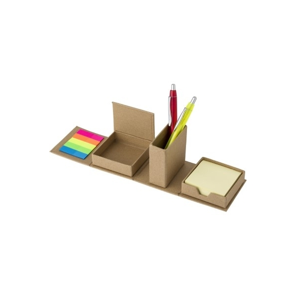 Zestaw do notatek, karteczki samoprzylepne, pojemnik na przybory do pisania
